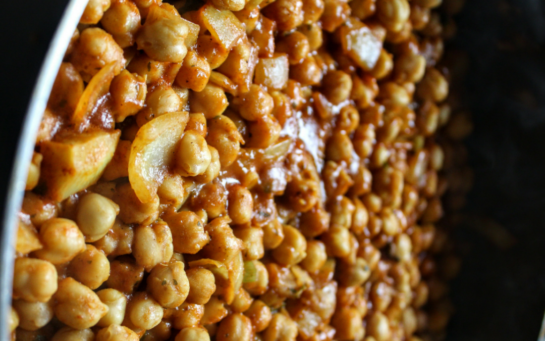 Guyanese Style Channa Curry & French Way Caramelized Onions